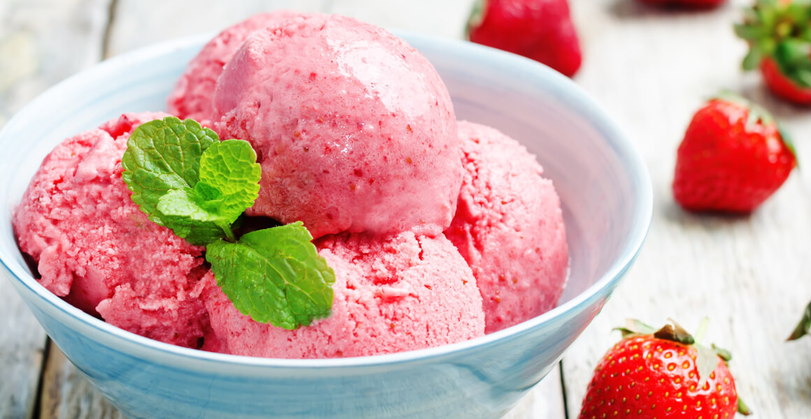 Helado de fresa casero sin azúcar